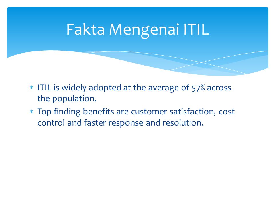 Fakta Mengenai ITIL ITIL is widely adopted at the average of 57% across the population.