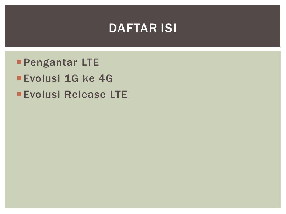 Daftar Isi Pengantar LTE Evolusi 1G ke 4G Evolusi Release LTE