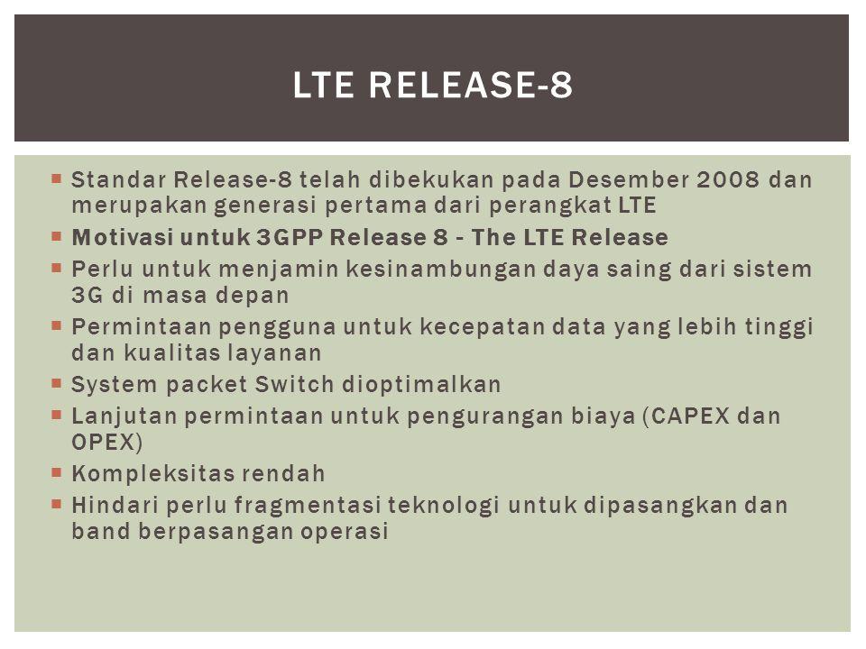 LTE Release-8 Standar Release-8 telah dibekukan pada Desember 2008 dan merupakan generasi pertama dari perangkat LTE.