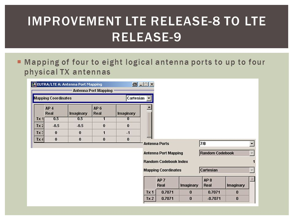 Improvement LTE release-8 to LTE release-9