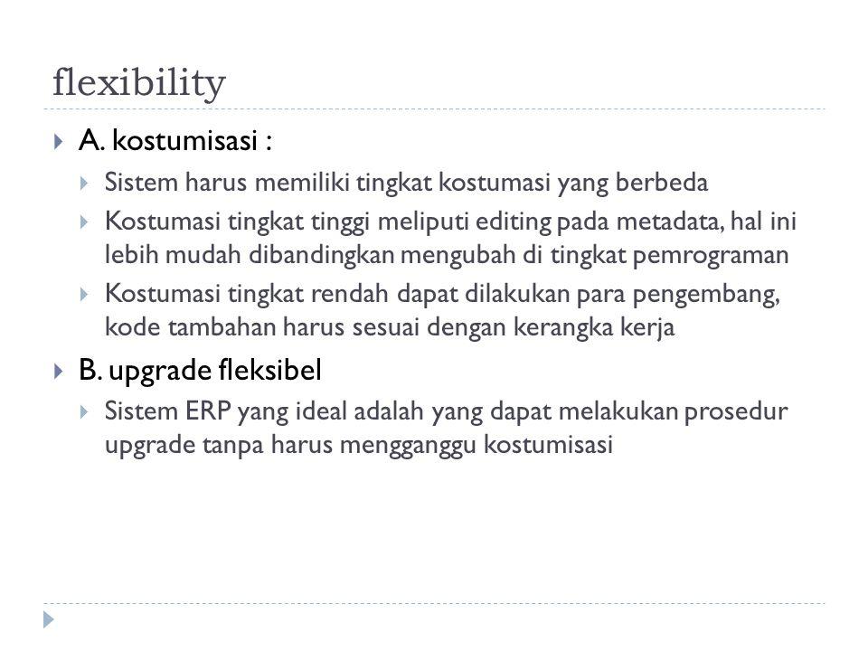 flexibility A. kostumisasi : B. upgrade fleksibel