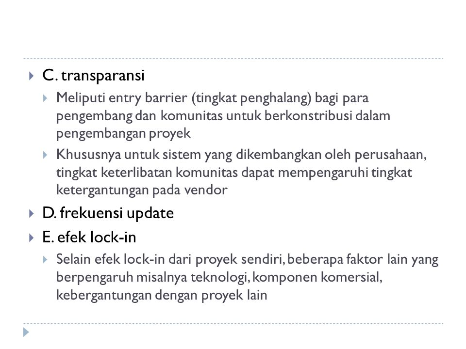 C. transparansi D. frekuensi update E. efek lock-in