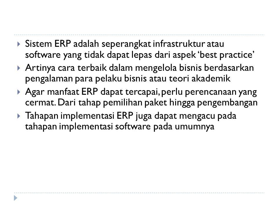 Sistem ERP adalah seperangkat infrastruktur atau software yang tidak dapat lepas dari aspek 'best practice'
