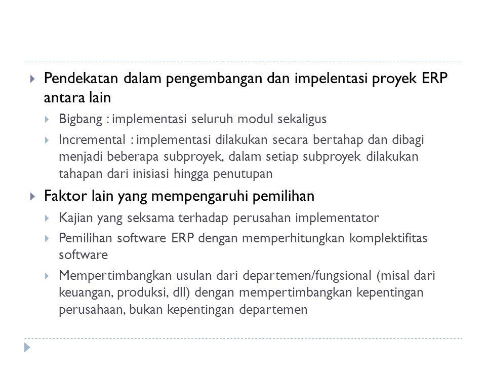 Pendekatan dalam pengembangan dan impelentasi proyek ERP antara lain
