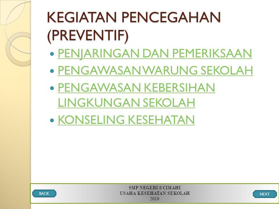 KEGIATAN PENCEGAHAN (PREVENTIF)