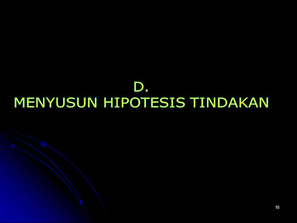 MENYUSUN HIPOTESIS TINDAKAN
