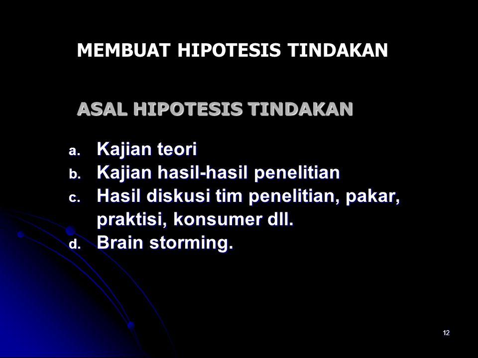 ASAL HIPOTESIS TINDAKAN