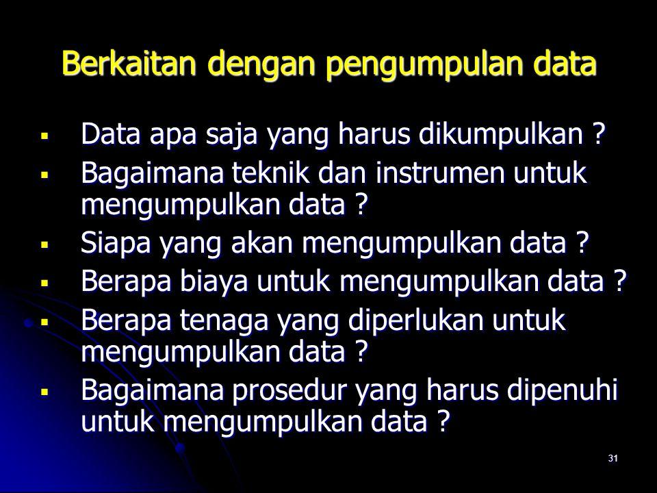 Berkaitan dengan pengumpulan data