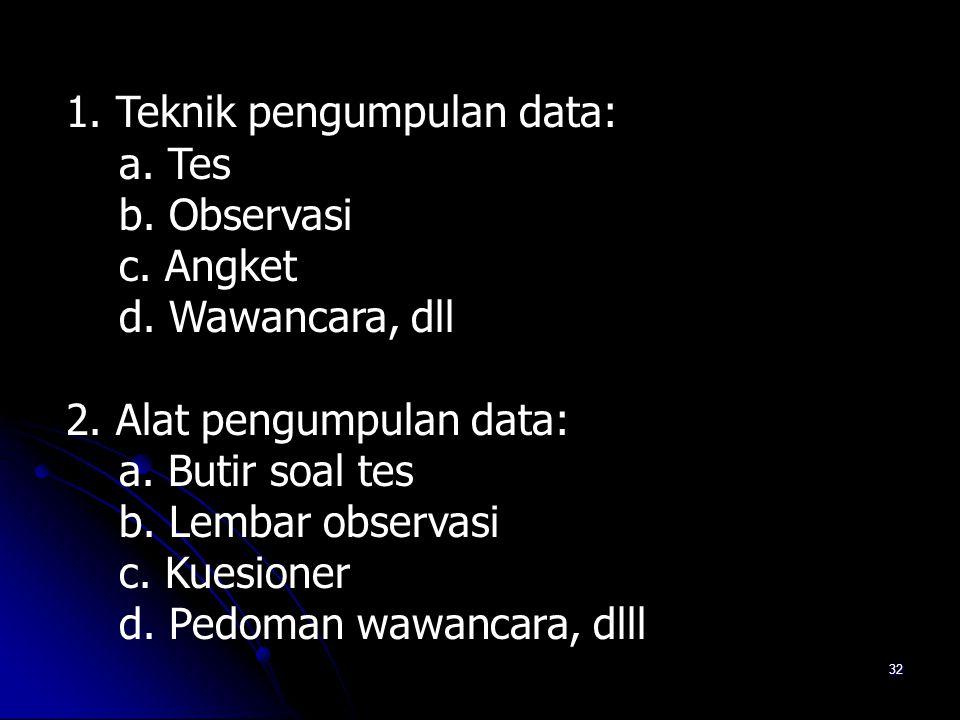 1. Teknik pengumpulan data: