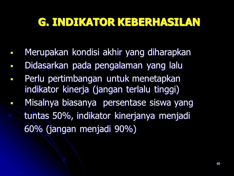 G. INDIKATOR KEBERHASILAN
