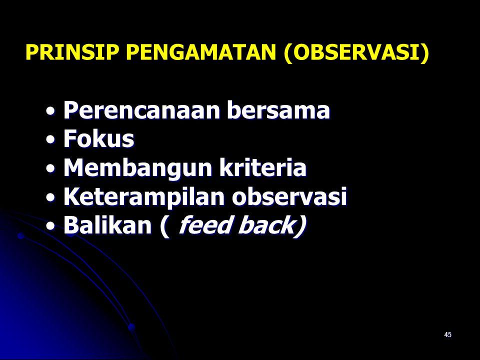 Keterampilan observasi Balikan ( feed back)