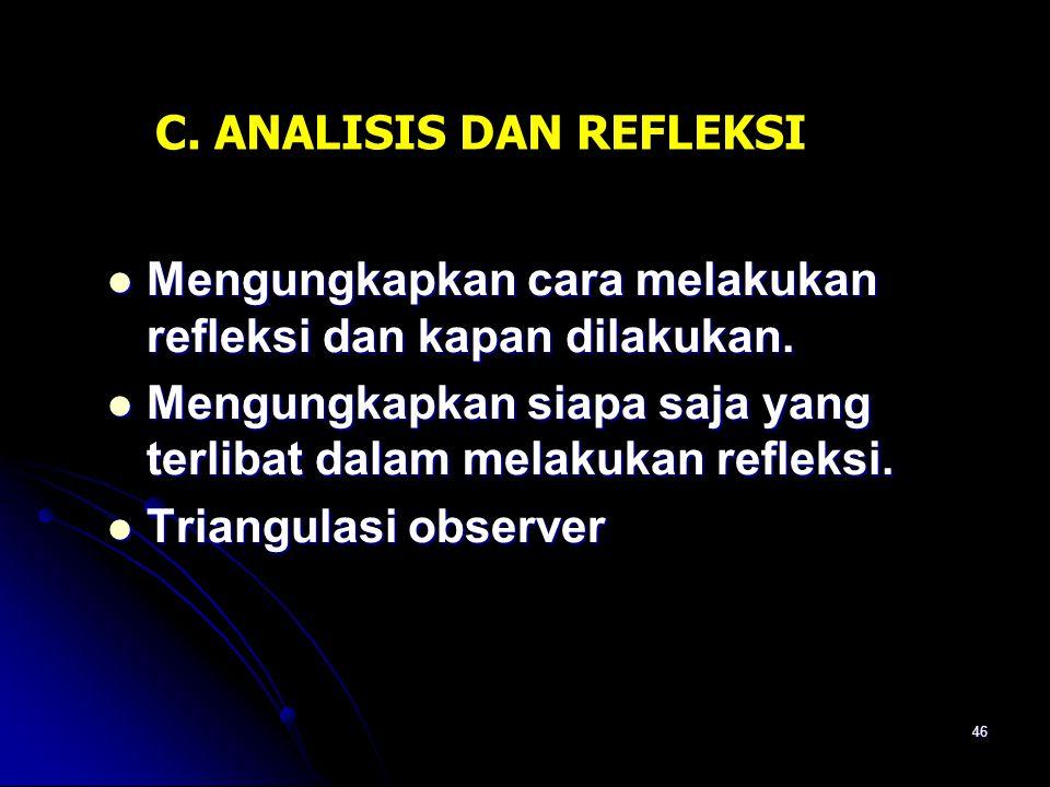 C. ANALISIS DAN REFLEKSI