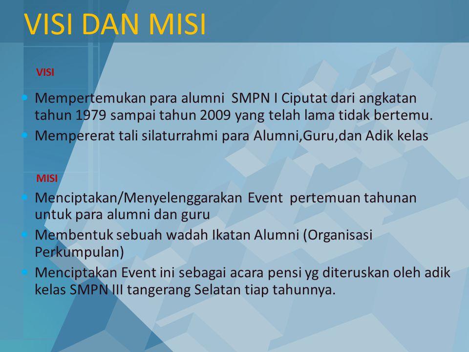 VISI DAN MISI VISI. Mempertemukan para alumni SMPN I Ciputat dari angkatan tahun 1979 sampai tahun 2009 yang telah lama tidak bertemu.