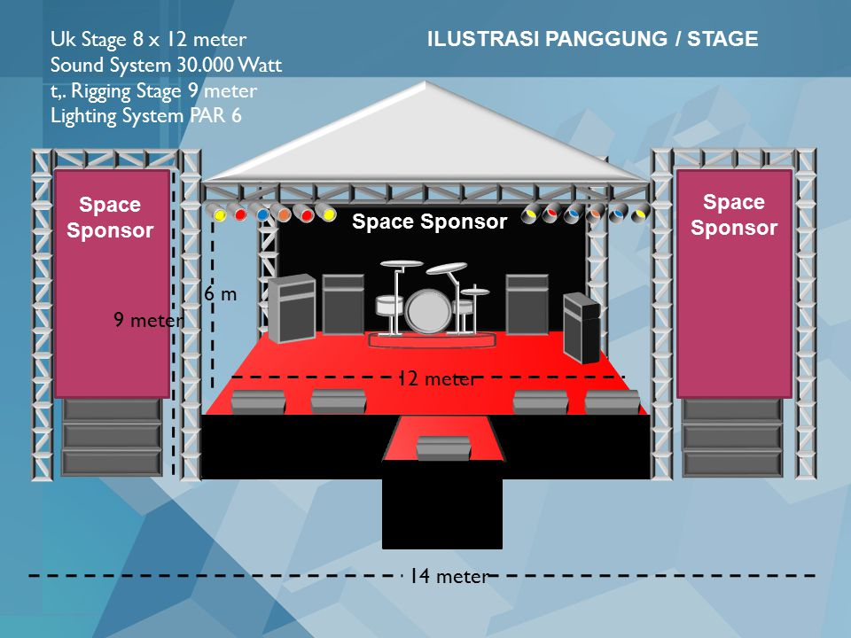 Uk Stage 8 x 12 meter Sound System 30.000 Watt. t,. Rigging Stage 9 meter. Lighting System PAR 6.
