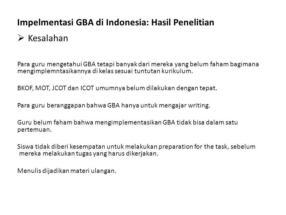 Impelmentasi GBA di Indonesia: Hasil Penelitian Kesalahan