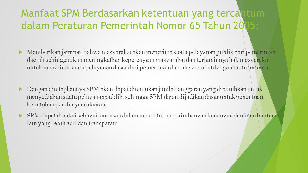 Manfaat SPM Berdasarkan ketentuan yang tercantum dalam Peraturan Pemerintah Nomor 65 Tahun 2005: