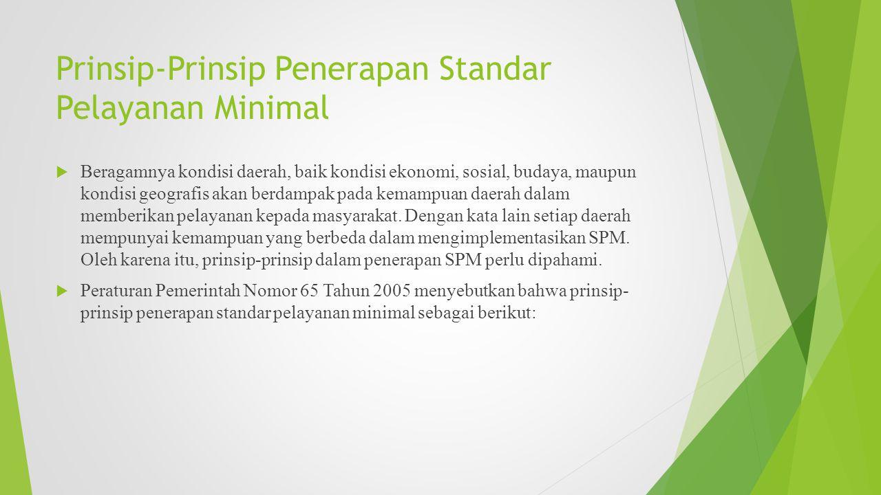 Prinsip-Prinsip Penerapan Standar Pelayanan Minimal