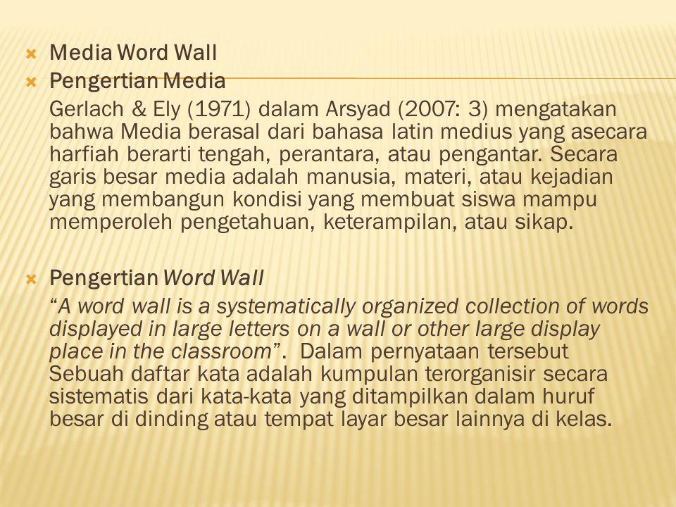 Media Word Wall Pengertian Media.