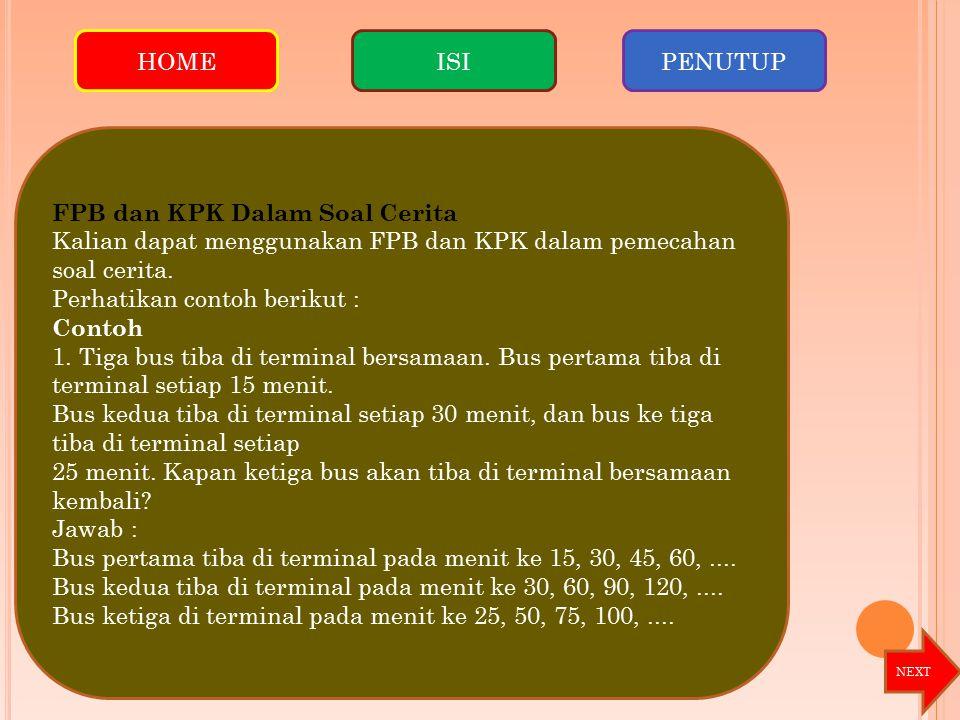 FPB dan KPK Dalam Soal Cerita