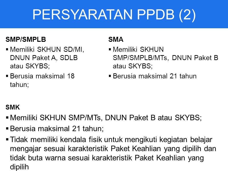 PERSYARATAN PPDB (2) Memiliki SKHUN SMP/MTs, DNUN Paket B atau SKYBS;