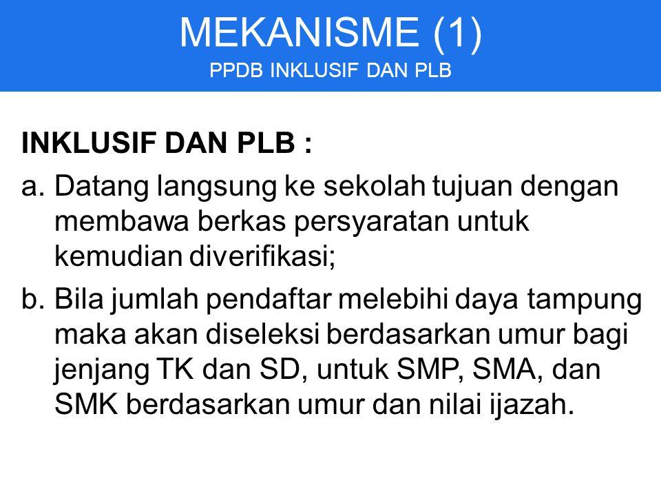 MEKANISME (1) INKLUSIF DAN PLB :
