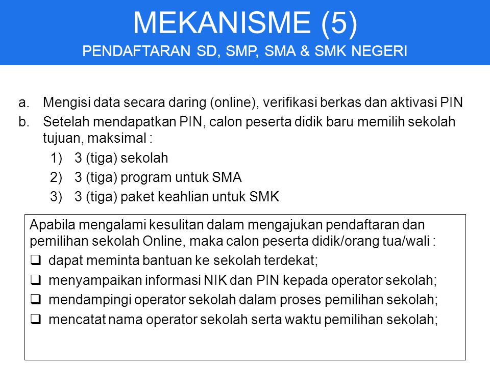 PENDAFTARAN SD, SMP, SMA & SMK NEGERI