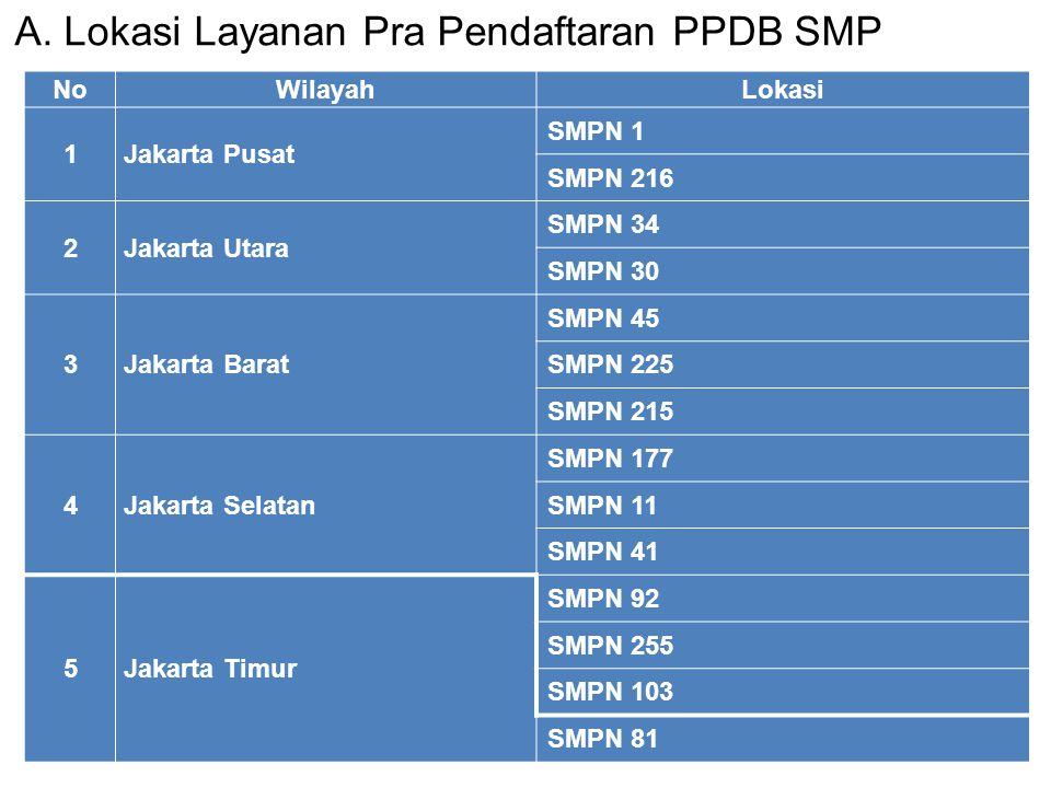 A. Lokasi Layanan Pra Pendaftaran PPDB SMP