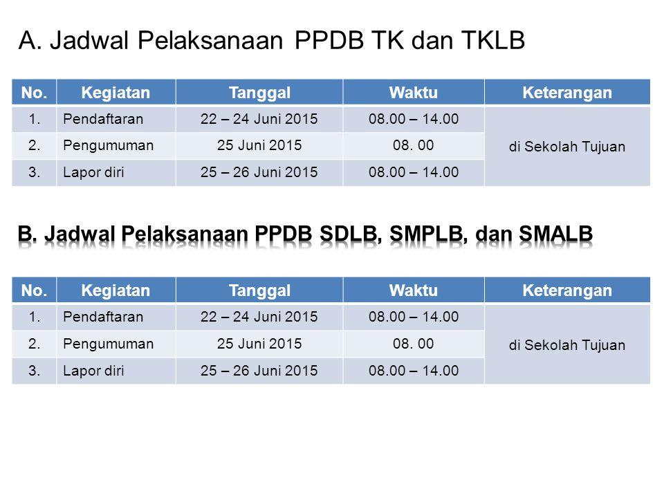 A. Jadwal Pelaksanaan PPDB TK dan TKLB