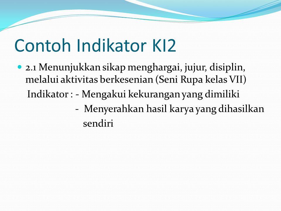 Contoh Indikator KI2 2.1 Menunjukkan sikap menghargai, jujur, disiplin, melalui aktivitas berkesenian (Seni Rupa kelas VII)