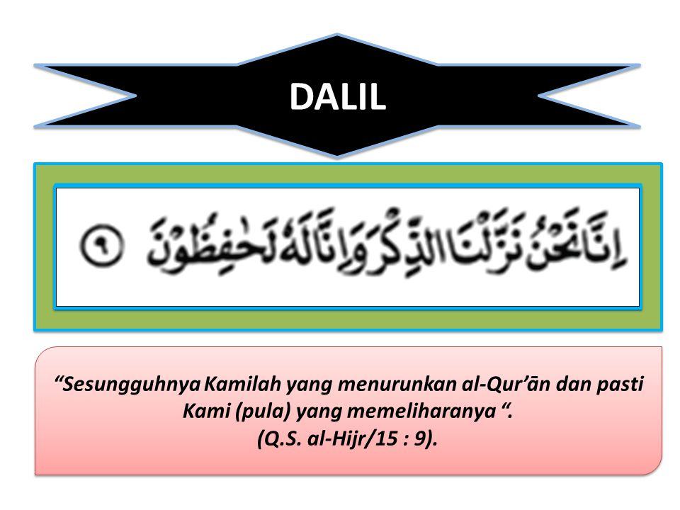 DALIL Sesungguhnya Kamilah yang menurunkan al-Qur'ān dan pasti Kami (pula) yang memeliharanya .