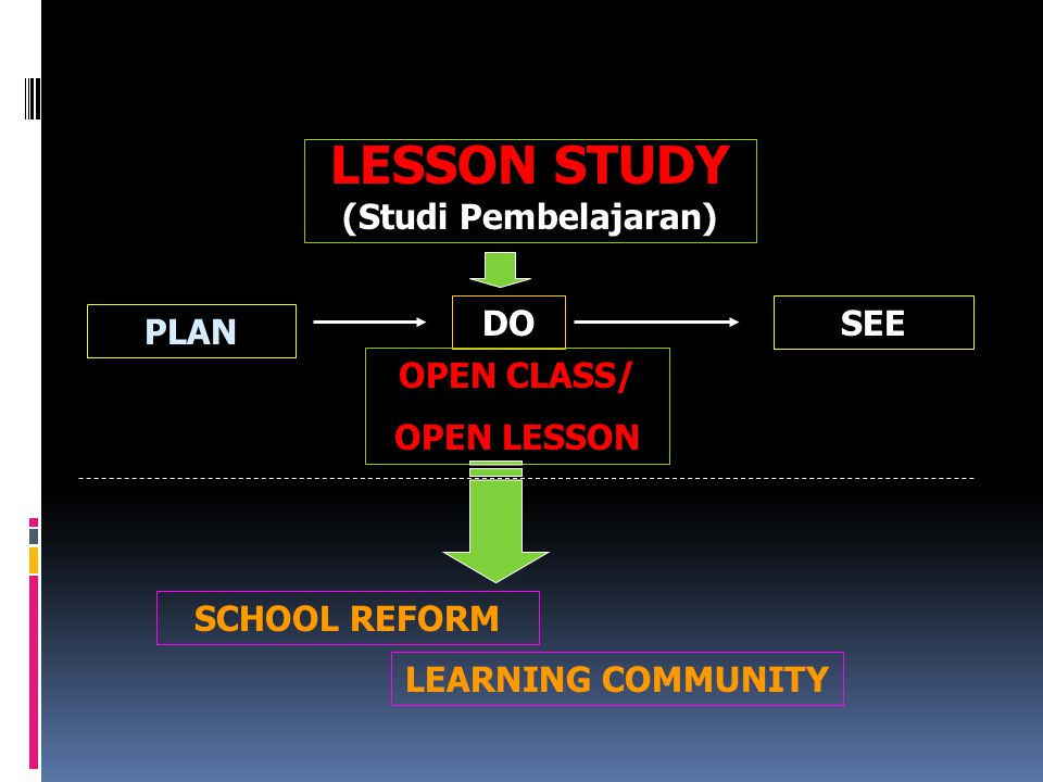 LESSON STUDY (Studi Pembelajaran) DO SEE PLAN OPEN CLASS/ OPEN LESSON