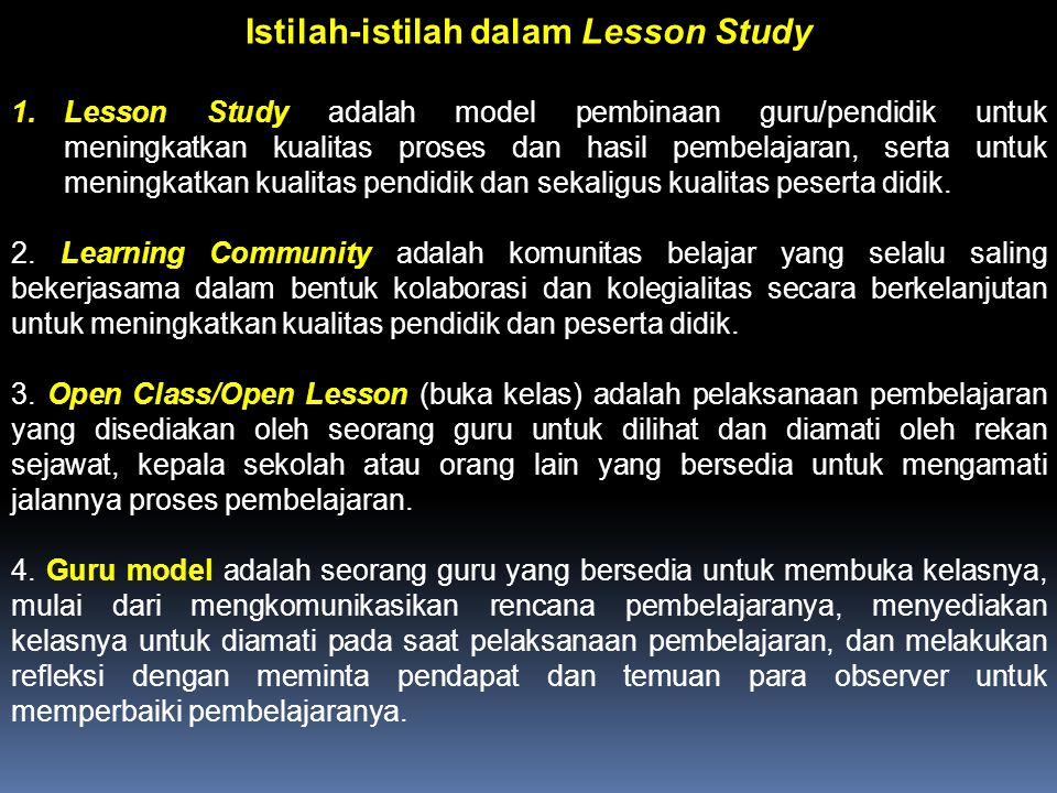 Istilah-istilah dalam Lesson Study