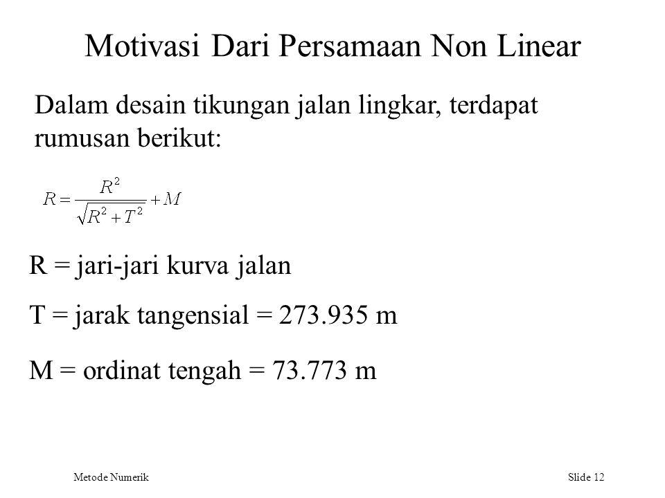 Motivasi Dari Persamaan Non Linear