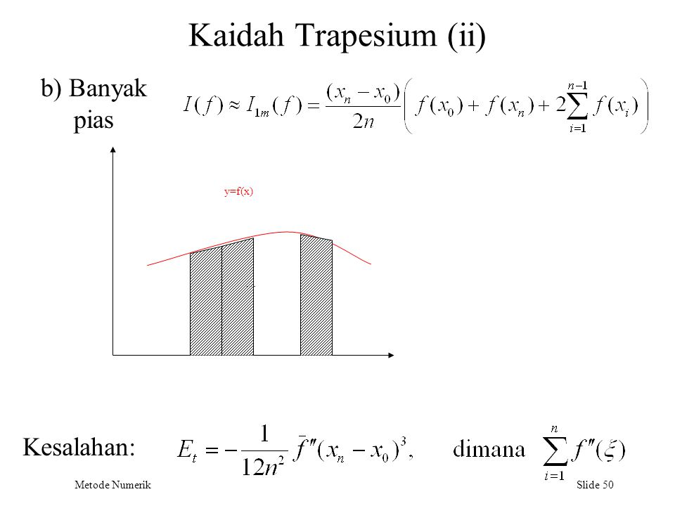 Kaidah Trapesium (ii) b) Banyak pias b y=f(x) … Kesalahan: