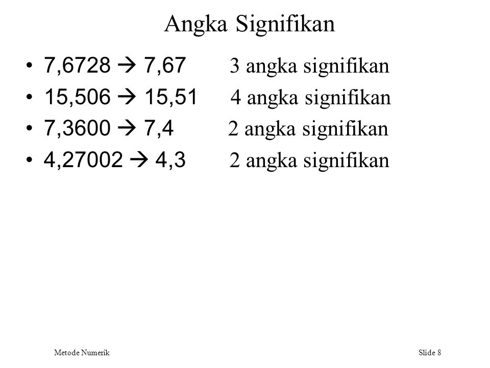 Angka Signifikan 7,6728  7,67 3 angka signifikan