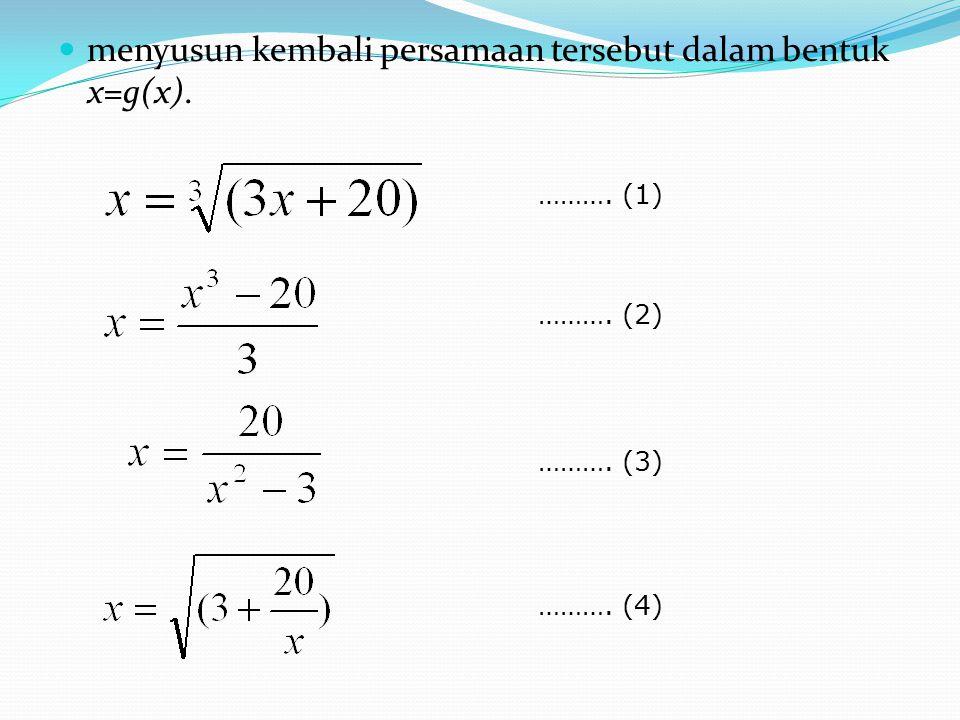 menyusun kembali persamaan tersebut dalam bentuk x=g(x).