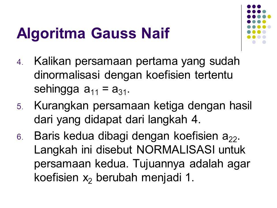 Algoritma Gauss Naif Kalikan persamaan pertama yang sudah dinormalisasi dengan koefisien tertentu sehingga a11 = a31.