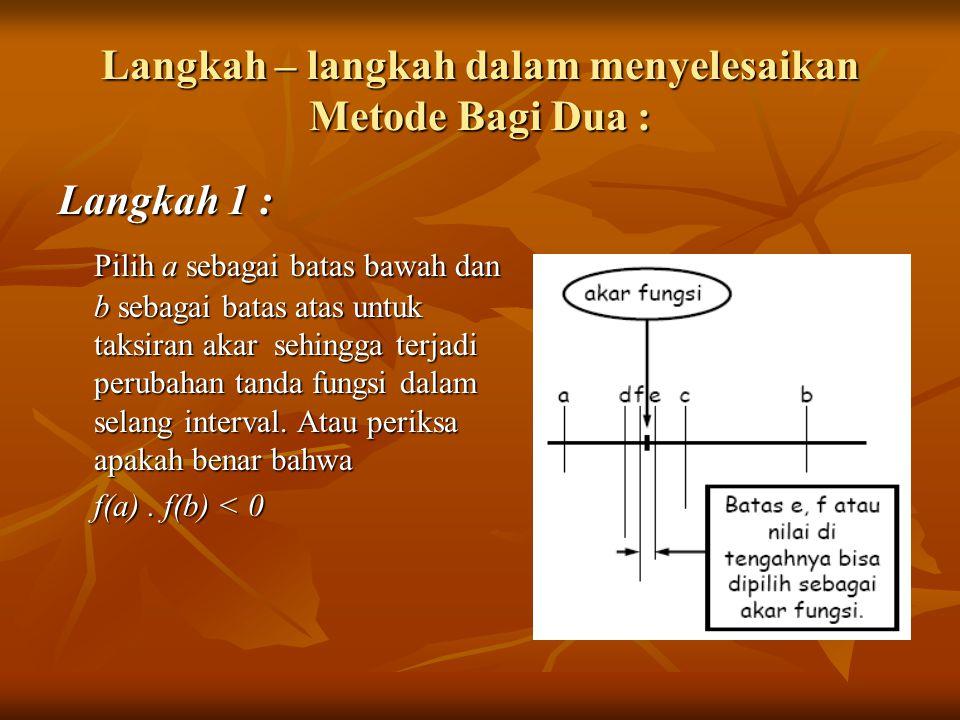 Langkah – langkah dalam menyelesaikan Metode Bagi Dua :