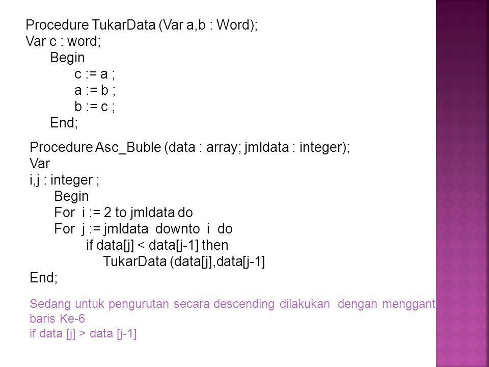 Procedure TukarData (Var a,b : Word); Var c : word; Begin c := a ;
