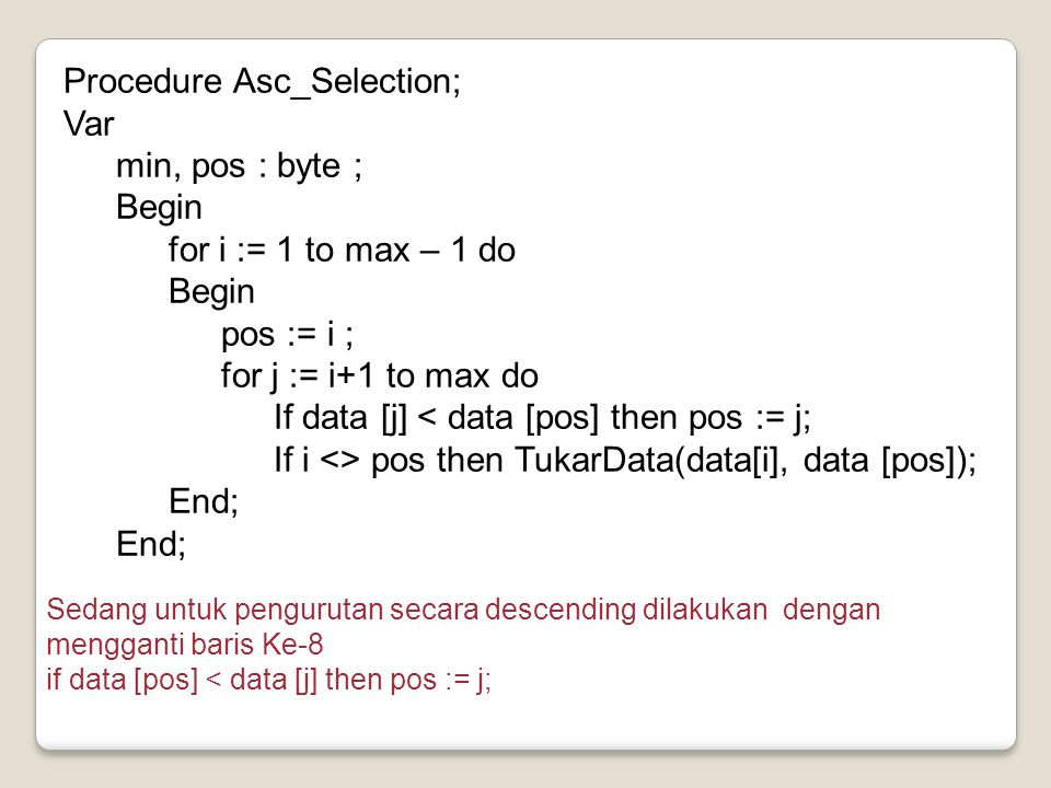 Procedure Asc_Selection; Var min, pos : byte ; Begin