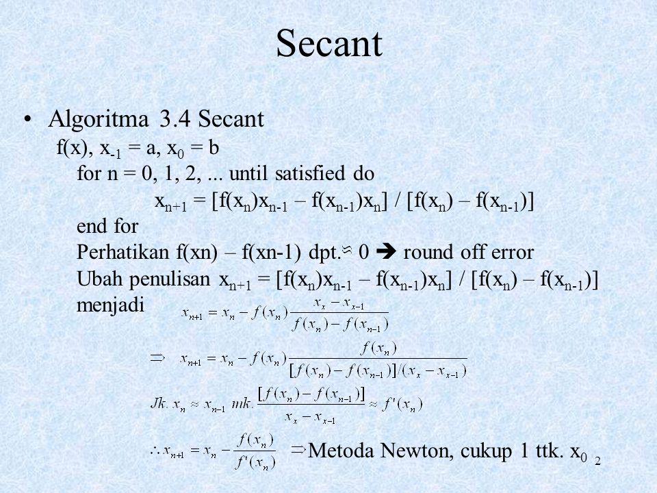 Secant Algoritma 3.4 Secant f(x), x-1 = a, x0 = b