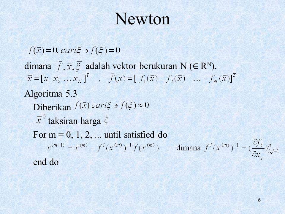 Newton dimana adalah vektor berukuran N (∈ RN). Algoritma 5.3