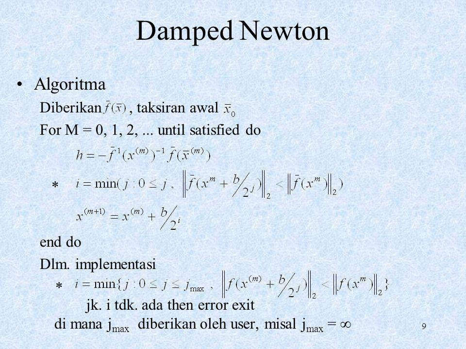Damped Newton Algoritma Diberikan , taksiran awal