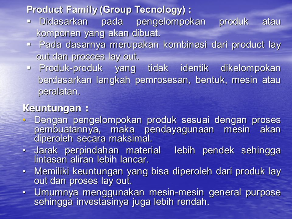 Product Family (Group Tecnology) :