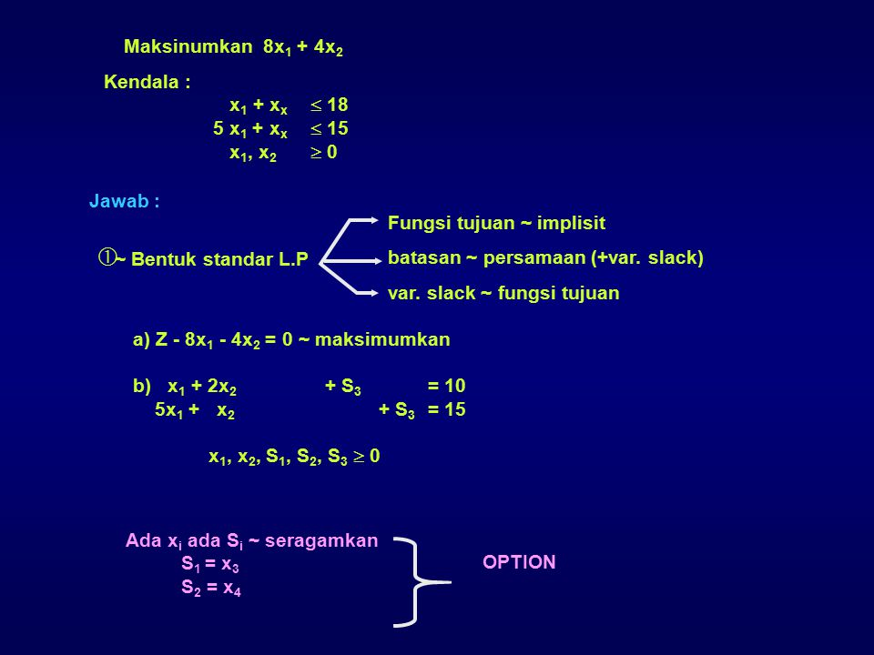 Maksinumkan 8x1 + 4x2 Kendala : x1 + xx  18. 5 x1 + xx  15. x1, x2  0. Jawab : ~ Bentuk standar L.P.