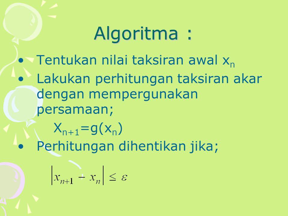 Algoritma : Tentukan nilai taksiran awal xn