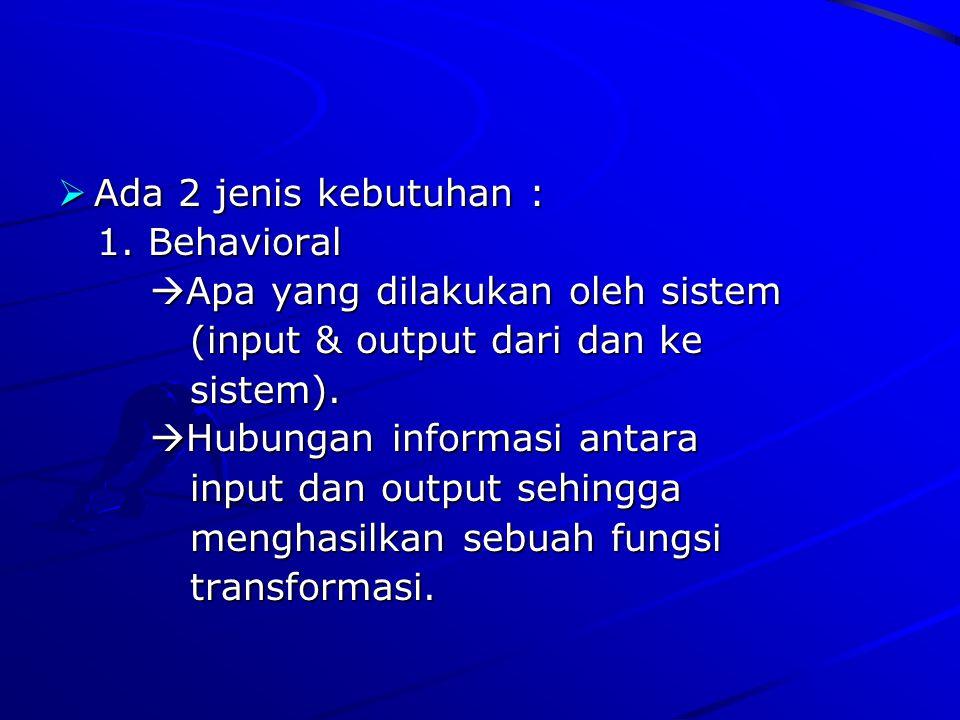 Ada 2 jenis kebutuhan : 1. Behavioral. Apa yang dilakukan oleh sistem. (input & output dari dan ke.