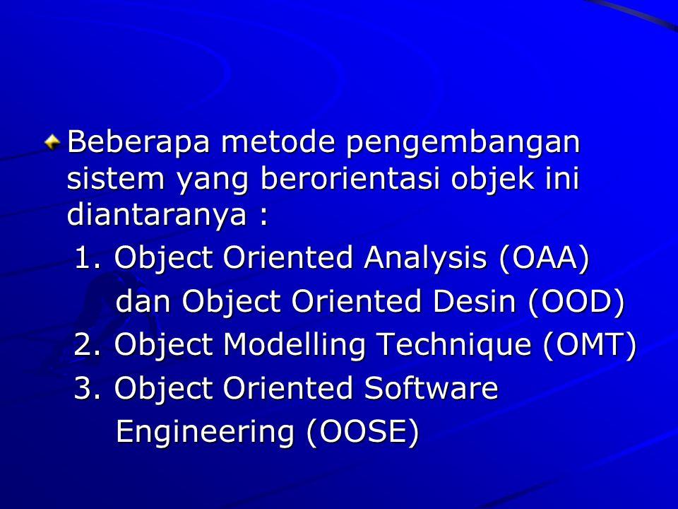 Beberapa metode pengembangan sistem yang berorientasi objek ini diantaranya :
