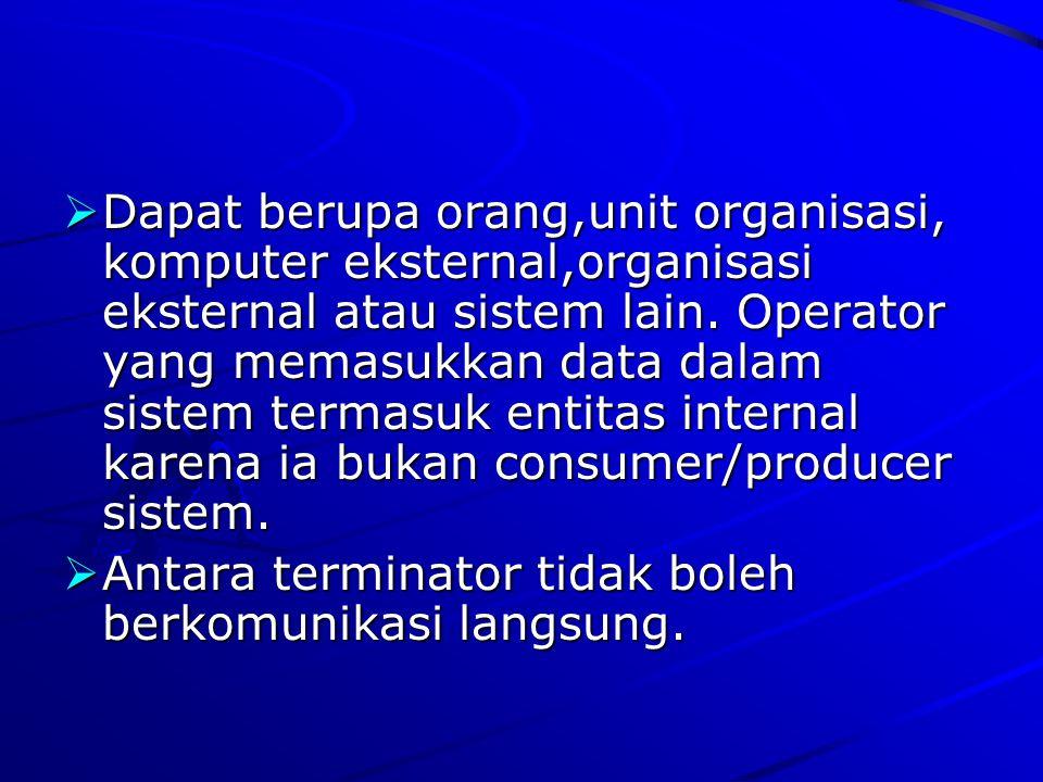 Dapat berupa orang,unit organisasi, komputer eksternal,organisasi eksternal atau sistem lain. Operator yang memasukkan data dalam sistem termasuk entitas internal karena ia bukan consumer/producer sistem.