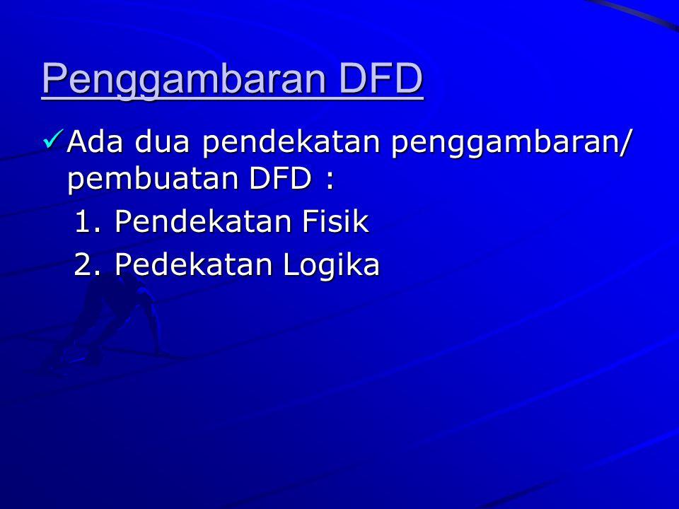 Penggambaran DFD Ada dua pendekatan penggambaran/ pembuatan DFD :